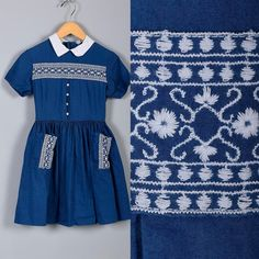 Childrens Vintage 60s Navy Blue White Emroidered Girls by Whirliss