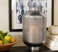 Luna Antique Silver Finish Lantern | Pottery Barn