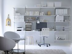 A Complete Office on One Wall   25 Bright Ideas for Incorporating Open Shelves into Your Space