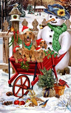 "New for 2012! Smooth Miniature Dachshunds Christmas Holiday Cards are 8 1/2"" x 5 1/2"" and come in packages of 12 cards. One design per package. All designs include envelopes, your personal message, and choice of greeting. Select the inside greeting of your choice from the menu below.Add your custom personal message to the Comments box during checkout."