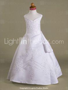 Ball Gown Straps Floor-length Satin Flower Girl Dress / First Communion Dresses