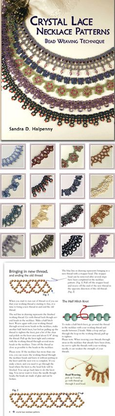 one of my favorite designers!Crystal Lace Necklace Patterns (Book) by Sandra D. Beaded Necklace Patterns, Lace Necklace, Jewelry Patterns, Beading Patterns, Seed Bead Jewelry, Beaded Jewelry, Handmade Jewelry, Beaded Necklaces, Seed Beads