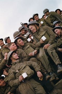 A group of British soldiers having a tea-break, circa 1944. (Photo by Fox Photos/Hulton Archive/Getty Images)