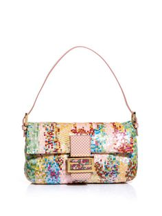 Sequinned leather Baguette bag by Fendi