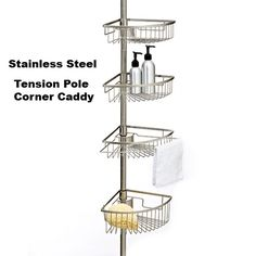 Tension Pole Corner Shower Caddy tension pole shower caddy - stainless steel -best | tension