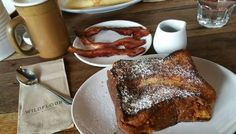 French brioche served with maple syrup and a side of bacon, finished with a tall mug of Vietnamese latte French Brioche, Maple Syrup, Latte, French Toast, Bacon, Bakery, Breakfast, Food, Morning Coffee