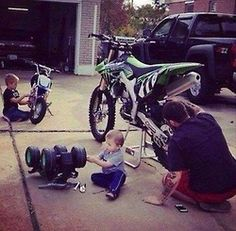 Exactly how its gonna be with cayd cody and I. I told cody he will ride dirt bikes when he gets older! hims gonna be like momma! Dirt bike lovers!
