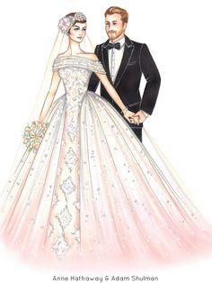 Wedding Illustration - Custom Portrait Illustration Drawing Sketch - BRIDE plus ONE - x Wedding Drawing, Wedding Dress Sketches, Wedding Dresses, Wedding Illustration, Portrait Illustration, Fashion Design Drawings, Fashion Sketches, Wedding Images, Wedding Pics