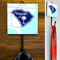 South Carolina State Runner Medal Hook - This GoneForaRUN exclusive Wall Medal Display is made from hand-forged steel and features a customized printed tile.  Showcase one special medal, or stack multiple medals on the hook for easy access.
