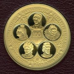 Cayman Islands Gold Coins - $100 Dollars, Queens of England Gold Proof Coin, minted in 1977. coin weighs .3646 ounces of pure gold.  Features cameo portraits of Queen Mary I & II, Queen Elizabeth I, Queen Anne, and Queen Victoria. Scarce, only 8,053 minted.