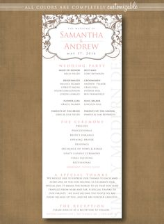 Classic And Elegant Wedding Ceremony Program PRINTABLE Look At The Unity Candle