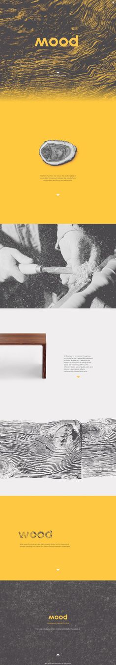 Minimalistic one pager to promote a contemporary concept furniture brand called 'Mood'. Enjoying the less-is-more approach with tons of whitespace and lovely touch with the scrolling header background effect.