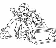 Scoop The Excavator Vehicle Coloring Pages Bob The Builder