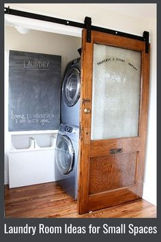 This laundry area off from my outhouse bathroom! Laundry Room Ideas for Small Spaces - Need laundry room ideas, but all you have is a laundry closet, nook, or small laundry area? Take a look at all these small laundry room ideas Small Laundry Rooms, Diy On A Budget, Diy Storage, Storage Spaces, Closet Storage, Small Storage, Laundry, Room Storage Diy