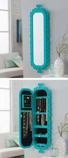 SHARESREAD NEXT You can use some DIY space-saving furniture ideas if you have a small home with small space. These ideas are suitable to make more free space inside your home using unique furniture. Space-saving furniture now is Jewellery Storage, Jewelry Organization, Home Organization, Mirror Jewellery, Jewelry Box, Organizing Ideas, Diy Jewelry Armoire, Jewelry Organizer Wall, Jewelry Cabinet