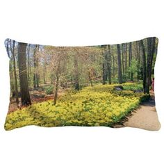 """Tulips along a Woodlands Garden Path"" Pillow, with digitally rendered ""watercolor"" image from photograph shot during a spring visit to Garvan Woodland Gardens in Hot Springs, Arkansas. (http://www.zazzle.com/tulips_along_a_woodlands_garden_path_pillow-189007176494961414?CMPN=addthis&lang=en&rf=238581717104918999) (https://www.facebook.com/hawcreek)"