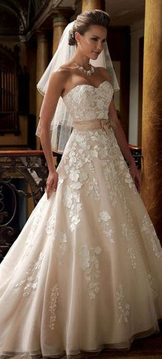 Amazing lace appliques ball gown wedding dress