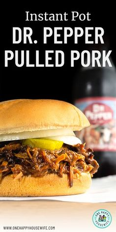 This Instant Pot Dr. Pepper Pulled Pork is an incredibly easy meal that feeds an army. Perfect for a party! #instantpot #drpepper #pulled #pork #sandwiches