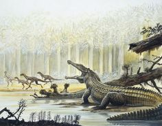 Reconstruction of a Rutiodon and Fabrosaurus in background during the Triassic Period by Victor O. Leshyk