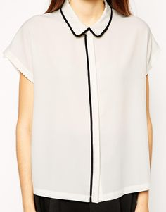 ASOS Grown on Sleeve Blouse with Contrast Piping
