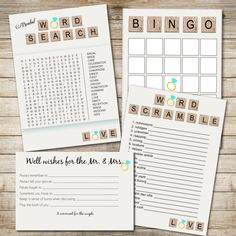 INSTANT DOWNLOAD Bridal Shower game set: Word Search, Bridal Bingo, Word Scramble, Well wishes for the Newlyweds (Printable)