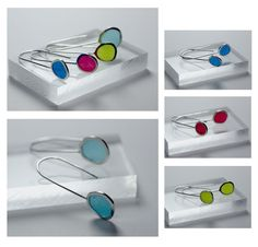 Clear transparent with black dot inlay eco-resin contemporary statement dangle earrings