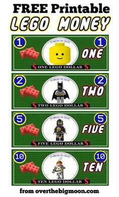 Free Printable Lego money. This would be such a good inventive for kids!