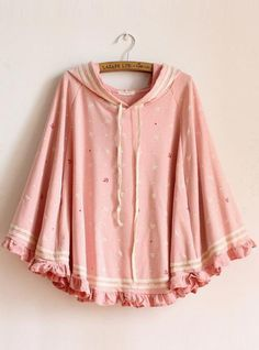 Hooded Anchor Bat Sleeve Sweatshirt Pink$42.00