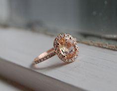 Oval champagne peach sapphire diamond ring