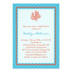 Red Coral Bridal Shower Invitation