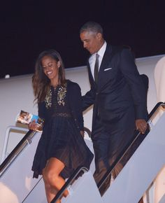President Barack Obama let his daughter Malia lead the way as the first family exited Air Force One.