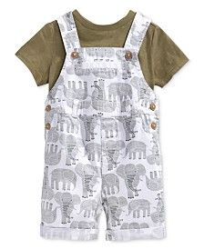 First Impressions Baby Boys' T-Shirt & Elephant Shortall Set, Only at Macy's