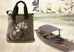 Chinese Painting shoulder bag(1),canvas bag,handbag, watercolor,handpainting,handmade,original design, china-style, oriental charm by Oriench on Etsy
