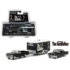 1972 Chevrolet C-10 with 1955 Cadillac Fleetwood Series 60 Special in Enclosed Car Trailer \The Godfather\ Movie (1972) Hollywood Hitch & Tow Series 3 1/64 Diecast Model Cars by Greenlight