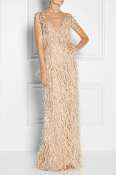 Oscar de la Renta | Feather and crystal-embellished tulle gown | NET-A-PORTER.COM