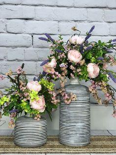 Wildfire Peonies Floral Style, Floral Design, Faux Flower Arrangements, Faux Flowers, Artificial Flowers, Flower Art, Peonies, Florals, Vase