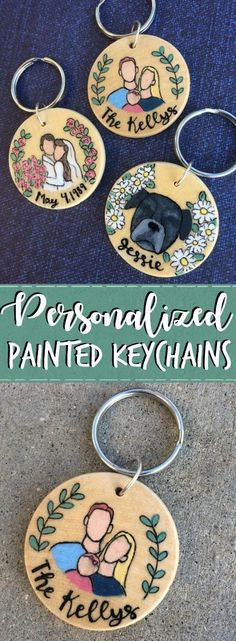 Custom Painted Keychains - These are so cute! I'd love to get one of a portrait of my family! Or maybe the wedding one with our anniversary date. The pet dog one is adorable too though! I can't decide!! Such a great gift idea for her- cute idea for a sister, wife, mom, or friend!