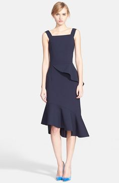 Oscar+de+la+Renta+Asymmetrical+Ruffle+Double+Face+Stretch+Wool+Dress+available+at+#Nordstrom
