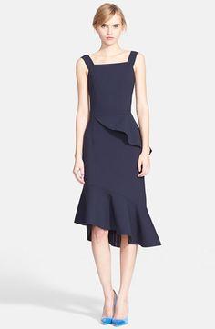 Oscar+de+la+Renta+Asymmetrical+Ruffle+Double+Face+Stretch+Wool+Dress+available+at+#Nordstrom