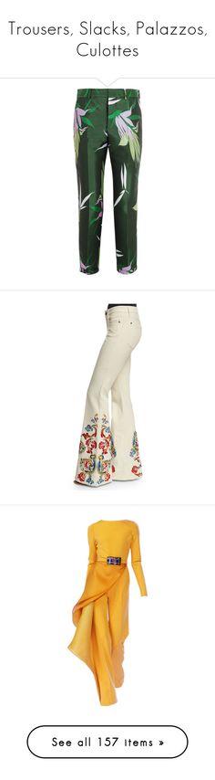 """Trousers, Slacks, Palazzos, Culottes"" by judymjohnson ❤ liked on Polyvore featuring pants, trousers, pantalons, bottoms, emerald, green pants, tapered pants, marni, marni pants and multi colored pants"