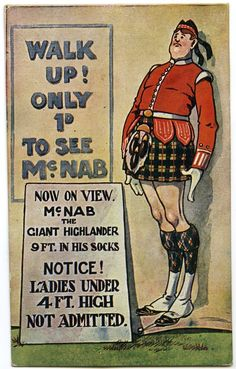 SCOTTISH HUMOUR 9 FOOT HIGHLAND SOLDIER GIANT IN KILT POSTCARD cWW1 [675