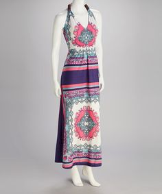 Take a look at this Pink & Blue Halter Maxi Dress by Talïa on #zulily today!  $17.99, regular 55.00