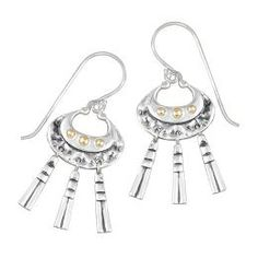 Mirage Collection Crescent Earring with 3 Bead Detail and 3 Dangles