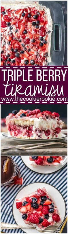 TRIPLE BERRY TIRAMISU is sweet, beautiful, easy, and SO delicious! The perfect easy dessert recipe for Valentine's Day or any other day of the year! Strawberries, raspberries, blueberries, and of course Chambord!
