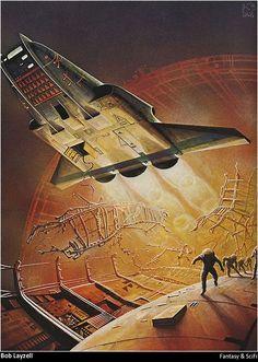 Stewart Cowley's Spacecraft 2000 to 2100 AD - A Terran Trade Authority Handbook Arte Sci Fi, Spaceship Art, Spaceship Design, 70s Sci Fi Art, Space Battles, Classic Sci Fi, Futuristic Art, Science Fiction Art, Space Travel