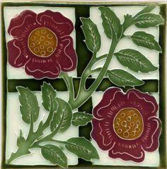 """Tile V19 - Reproduction Art Nouveau Tile  - porteous nz - Tiles are aprox. 150mm x 150mm (6"""" x 6"""") or 150mm x 75mm (6"""" x 3"""")."""