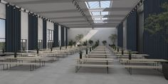 Informal event set-up with long tables at The Plant Venue in Copenhagen