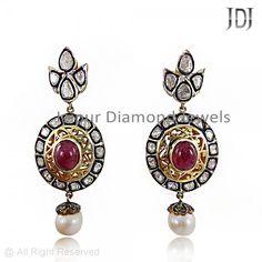 New Stylish Rose Cut Diamond Dangle Earrings #handmade #jewelry #earrings #diamond #rosecut #sweet #designer #womens #ruby