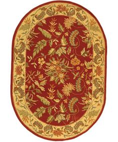 @Overstock - Rich color and plush pile make this hand-hooked red wool area rug an elegant addition to a room. The background is floral and has accents in vivid shades of gold, olive and sage. A 4'6' x 6'6' oval, the rug is finished with a clean, fringeless border.http://www.overstock.com/Home-Garden/Handmade-Paradise-Red-Wool-Rug-46-x-66-Oval/3037141/product.html?CID=214117 $126.44