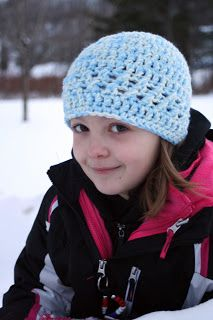 Quick Fix Hat - Using a double strand of worsted weight yarn and a K hook this free hat pattern works up fast!
